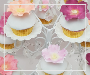Cup Cakes with Pastel Sugar Flowers, Wedding Cupcakes