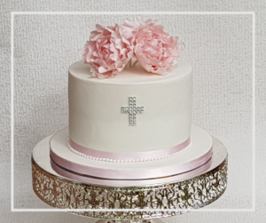 Occasion Christening Cake, Pink Peony Sugar Flowers Christening Cake with Cross