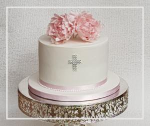 Occasion Christening Cake, Pink Peony Sugar Flowers Christening Cake with Cross
