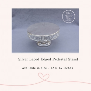 Cake Stand Hire Brisbane, Silver Mirror Laced Edge Pedestal Cake Stand