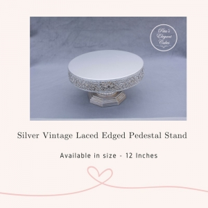 Cake Stand Hire Brisbane, Silver Vintage Laced Edge Pedestal Cake Stand