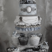 Vintage Cake, Steam Punk Cake, Cakes with Lace, Blue & White Cake, Vintage Cakes and Cupcakes, Vintage, Steampunk, Cakes with Hats