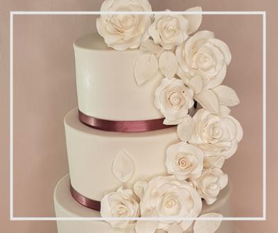 Wedding Cake Classic White Cascading Roses